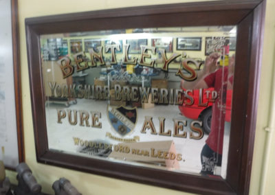 A 1920s Bentley's Yorkshire Brewers Pure Ales advertising mirror