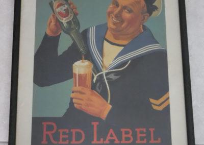 A 1940s Original Cisk Red Label framed poster
